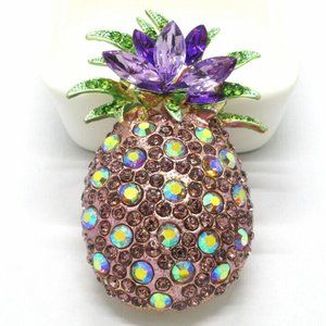 DAZZLING Tropical Hawaii PINEAPPLE Luau Brooch Ppl